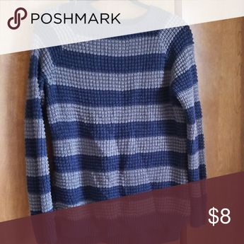 Navy and Light blue striped sweater Loose knit navy and light blue sweater- never worn natural relfection Sweaters Crew & Scoop Necks