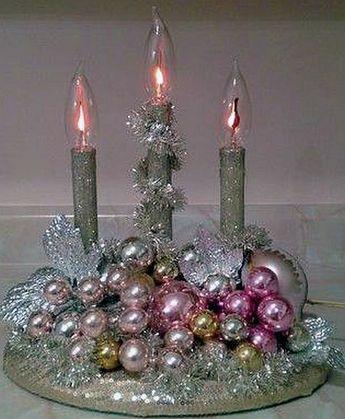 Vintage Christmas Candelabra Pink Gold Silver Ornaments Tinsel.