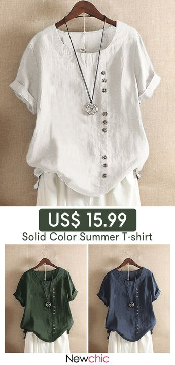 Solid Color Short Sleeve Button Summer T-shirt.