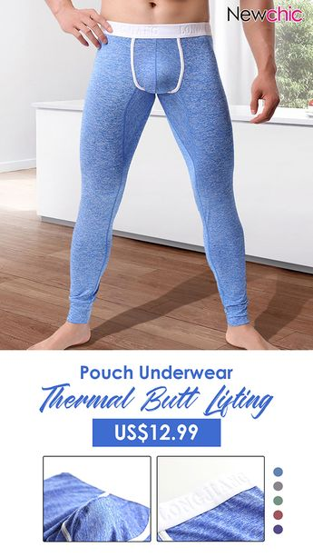 Men Thick Thermal High Elasticity U Convex Pouch Sleepwear Butt Lifting Fitness Slim Fit Long John