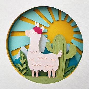 Image of Llamacorn Shadow Box Paper Craft Kits