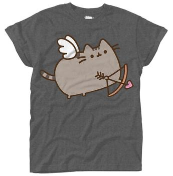 7782914713f Details about Pusheen 'Love Cat' Womens Roll Sleeve T-Shirt - NEW &