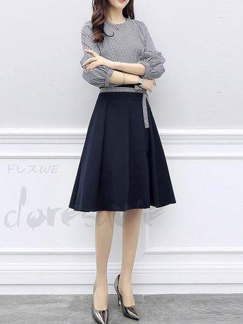 6e6787e8e4a33 ファッション通販 #Fashion Doresuweリボンチェック柄韓国風シャツレディースファッションAライン