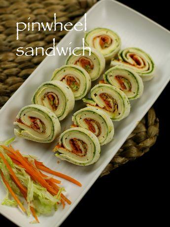 Pinwheel sandwich recipe   veg pinwheel sandwich