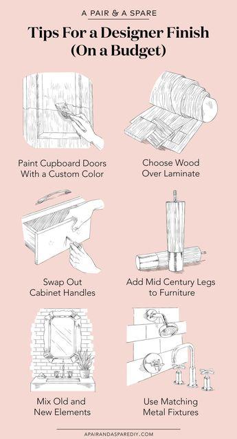 Check out these 6 renovation tips for a designer finish on a budget. #rustichomedecoronabudget #HomeDecoratingTipsForABudget #interiordesignstylesonabudget