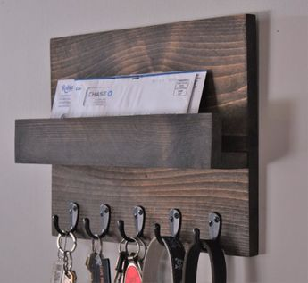 Rustic Mail and Key Rack; Mail and Key Holder with Shelf; Entryway Mail Organizer; Key Hook