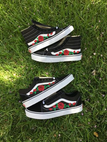 Customized Rose Embroidered Vans - Ironed on and Hand sewe 2640f4c79