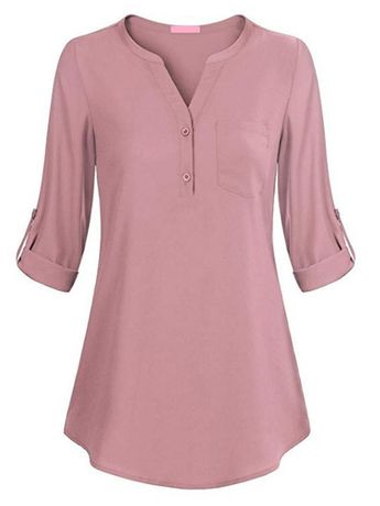 440d87fd088c63 Womens Tunic Tops Casual Short Sleeve V Neck Loose Fitting