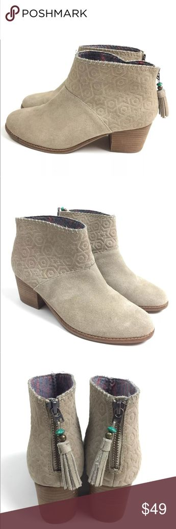 Toms tan leather Leila booties tassel zipper 9.5 Toms tan suede leather Leila booties with tassel zip. Women's size 9.5, gently used with no flaws. Toms Shoes Ankle Boots & Booties