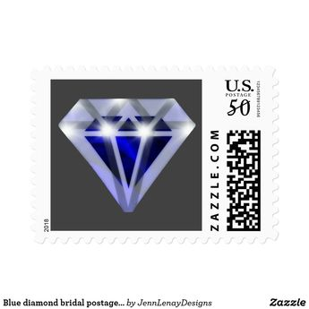 blue diamond bridal shower postage stamps