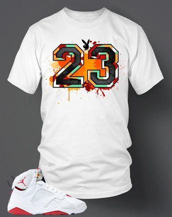 b7c7ba22370 T-Shirt To Match Retro Air Jordan 7 Hare 23 Bunny Shoe