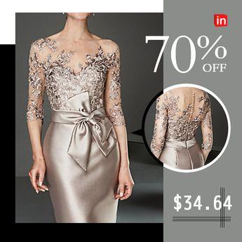 Women's Slim Bodycon Dress - Solid Colored Boat Neck Lace Gold S M L XL