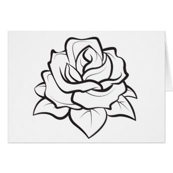 Floral Black & White Rose Flower - Hello Love Card - wedding thank you marriage thankyou idea diy customize personalize