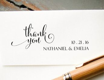 Wedding Thank You Stamp Self Inking Custom Personalized