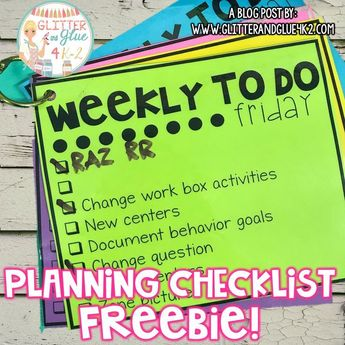 FREEBIE! Stay on track with your weekly planning with this simple checklist! Keywords: lesson planning, classroom organization, teacher, kindergarten, first grade, second grade, teacher tips, lesson plan, free teaching resources, elementary teacher
