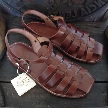 507322645632 Men handmade sandals in Vegetable tanned Leather Mario Doni