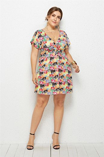 07c64add69a Hualong Cute Floral Printed Cheap Plus Size Summer Dresses