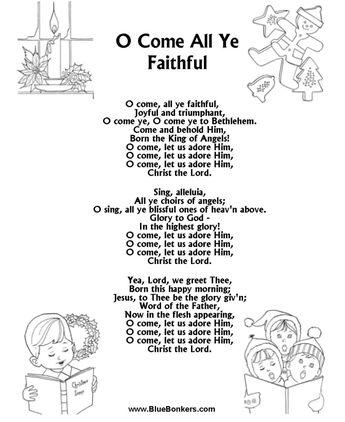"""Free Printable words for """"o come all ye faithful""""   ... Song Sheets > Christmas Carol Lyrics > Title: O Come All Ye Faithful"""