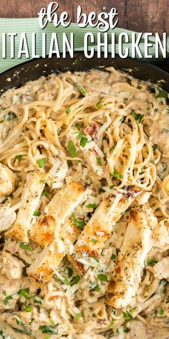 Dinner in 30 minutes with this Creamy Italian Chicken Pasta recipe. Packed with flavor from spinach, garlic, and sun dried tomatoes, your family will gobble this easy dinner right up!
