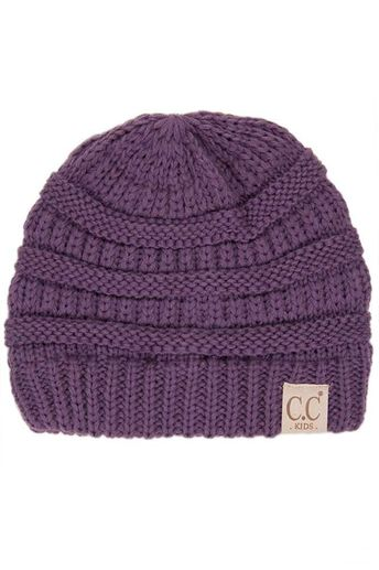 63e6edcd88e C.C. Beanie Cable Knit Beanie for Kids in Violet YJ847-KIDS-VIOLET