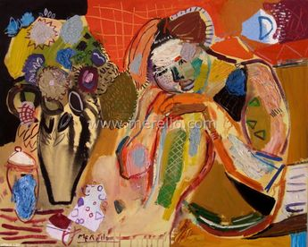 """Spanish Art. Merello.- """"Woman and Vase. The Dream"""" (81x100 cm) Mixed Media on Canvas. Contemporary Art. Painting."""