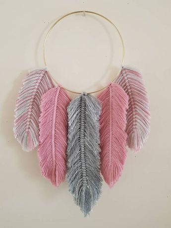 Feather Dreamcatcher - Grey glitter and Rose Pink with Mist Grey