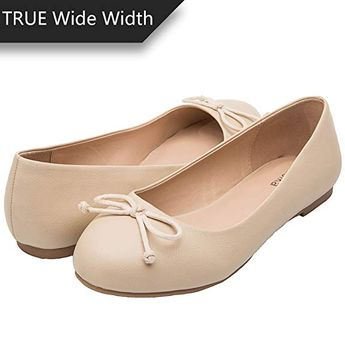 0809c6d35895 Luoika Women s Wide Width Flat Shoes - Comfortable Slip On Round Toe Ballet  Flats.(