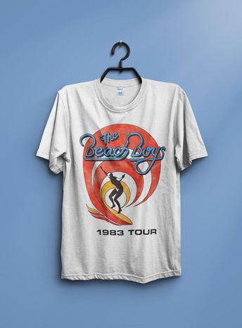 New The Beach Boys Tour 1983 Vintage Retro Short-Sleeve T-Shirt Reprint New #fashion #clothing #shoes #accessories #mensclothing #shirts (ebay link)