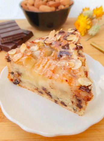 Gâteau moelleux aux poires, amandes et pépites de chocolat {vegan