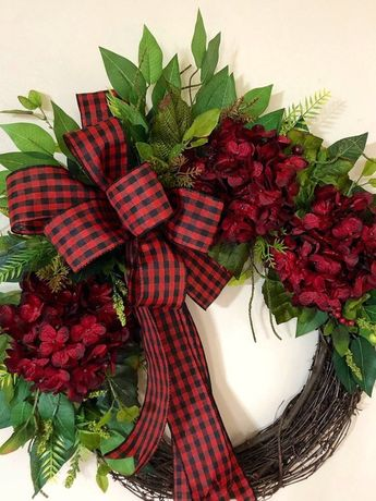 Winter Wreath, Valentines Wreaths, Red Door Decoration, Red and Black Ribbon, Buffalo Check, Plaid Ribbon, Housewarming Gift Ideas