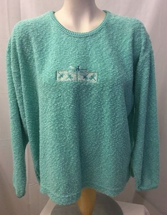 Vintage Artisan Womens Green Sweater Embroidered Dragon Flies Pullover Size  L  ArtisanScreenPrintingEmbroidery  PulloverSweater   71b2a25e7