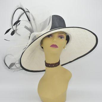 5e9b497685d2 M826(Ivory/Black) High Quality Kentucky Derby Hat, Church, Wedding,