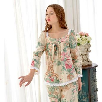 0383ef586d Pastoral Style Pajama Sets Long Sleeve Women Sleepwear Autumn Cotton Pajamas