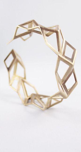 Bijoux – Tendance 2017/2018 : Geometric Brass Tessellation Bracelet, Origami Jewelry, 3D Printed Jewelry…