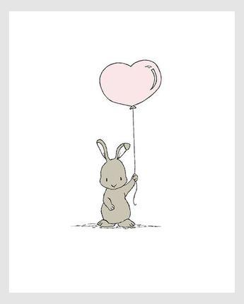 Woodland Nursery Art Bunny Heart Balloon Children