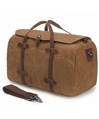 Duffle Bag Waxed Canvas Travel Tote Bag Leather Trim Weekend Bag - Khaki -  CS188Q7RQKU 688929178d656