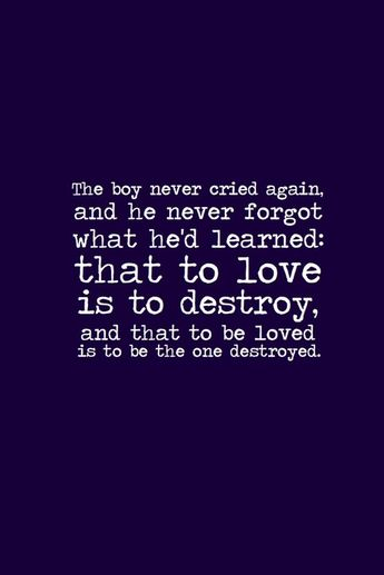 """The Mortal Instruments: The City of Bones quote """"The boy never cried again and he never forgot what he learned: that to love is to destroy and that to be loved is to be the one destroyed."""" ~ Jace telling Clary the story"""