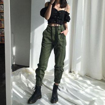 High waist pants loose joggers women army harem camo pants streetwear punk black cargo pants women capris trousers