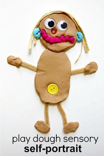 Play Dough Sensory Self-Portrait All About Me Activity for Preschool