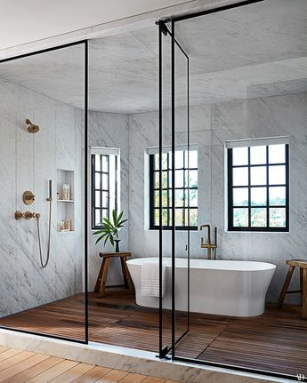 Marble and wood natural bath. Bathtub within shower area, glass and metal shower door. Step Inside Jessica Alba's Haven in Los Angeles - AD