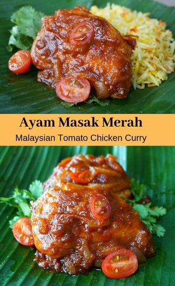 Delicious mild Malaysian Tomato Chicken #Curry Recipe, spiced with lemongrass, ginger (galangal) and spicy chile peppers in a rich creamy tomato and coconut milk sauce. The recipe starts with crispy fried chicken which is then finished in the tomato curry sauce. Find out why #Malaysian Cuisine is often voted the most flavorful in the world!