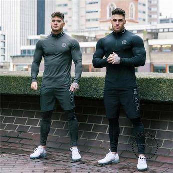 Mens Sportwear Sweatshirt Tracksuit Without Hoodie Men Printed High Elasticity Set Muscle Shirt