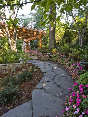 Garden landscape ideas country style covered wooden pergola stone path flower beds