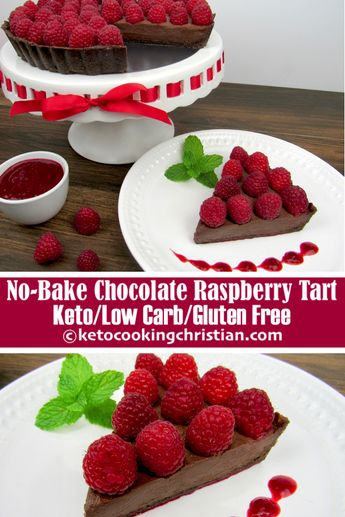 No-Bake Chocolate Raspberry Tart - Keto, Low Carb & Gluten Free Looking for an easy no bake chocolate treat? This no-bake chocolate raspberry tart is incredibly decadent and very satisfying! #ketorecipes #keto #lowcarb #ketodiet #ketogenicdiet #lowcarbdiet #ketogenic #lowcarbhighfat #lowcarbrecipes #lchf #glutenfree #ketoweightloss #ketocookingchristian