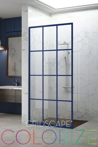 COLOR NAME: SAPPHIRE Gridscape Divided Light Shower Doors and Shower Screens now available in 8 vibrant finishes.      #gridscape #showerscreen #popofcolor #bathroomdesign #eclecticdecor #eclecticdesign