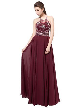 dc13fe8ba80 Belle House Womens Womens Long Prom Dress Halter Evening Dress With Beades  2018 Formal Dress A