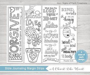 Bible Journaling Printable Margin Strips Coloring Templates Scripture Bookmark Proverbs 16
