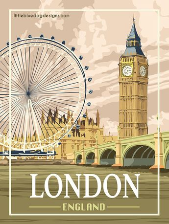 London England - Vintage Travel Poster