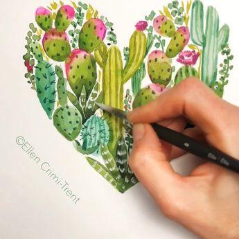 Cactus wall art/ succulent wall art/ cactus heart/ botanical wall art/ botanical decor/ cactus decor