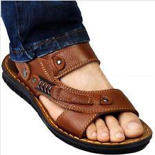 Mens casual leather open toe antiskid gladiator beach sport sandal slipper shoes